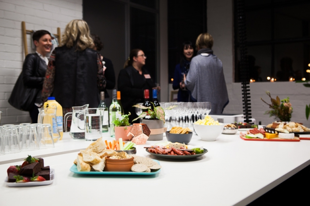 food table drinks people networking