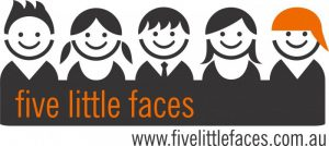 Five Little Faces logo Boy with spikey hair girl with pigtails boy with tie girl with long hair and boy with hat